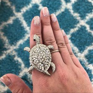 Turtle rhinestone costume jewelry ring